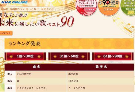 【乃木坂46】NHK「未来に残したい歌ベスト90」で希望と片想いがランクイン!